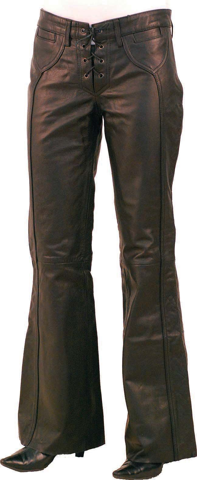 Jamin' Leather Bell Bottom Lace Up Leather Pants for Women (10) #LP2071LK by Jamin' Leather