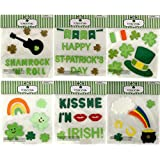 St. Patrick's Day Shamrock Clover Gel Sticker Window Cling Decorations Bundle of 6 Packages