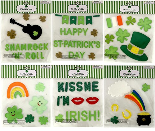 St. Patrick's Day Shamrock Clover Gel Sticker Window Cling Decorations Bundle of 6 Packages (Gel Decorations Window)