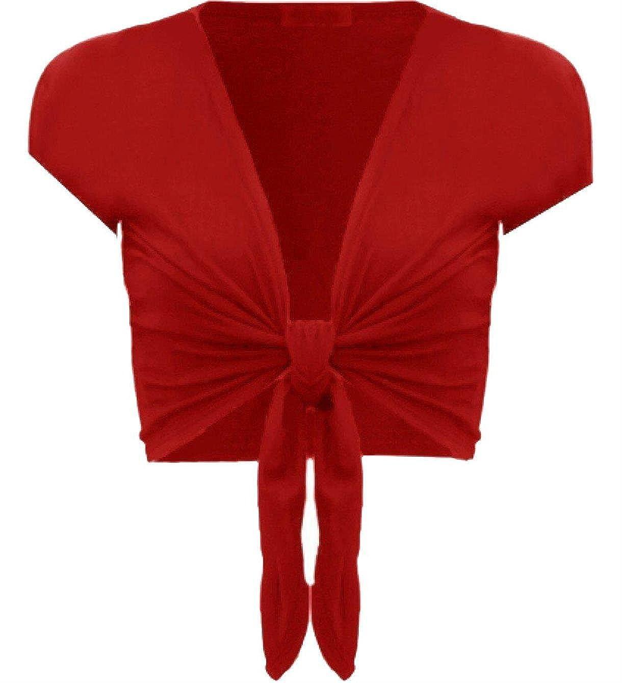Womens Tie up Short Sleeve Bolero Shrug Club Wear Top