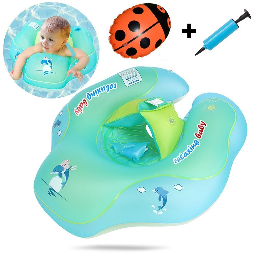 Kapoo Baby Inflatable Swimming Float + Safety Back Ladybug Float + Inflator - Swimming Ring Boat Trainer Children Seat Boat Float Kids Waist Pool Float with Backrest and Strap for 6-30 Month