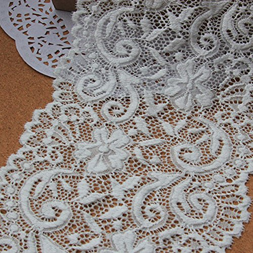 [Ivory 5 Yards 5 7/8 Inches Wide Grace Stretch Lace Trim Fabric Lace Home Decoration Costumes] (Lace Stretch Costumes)