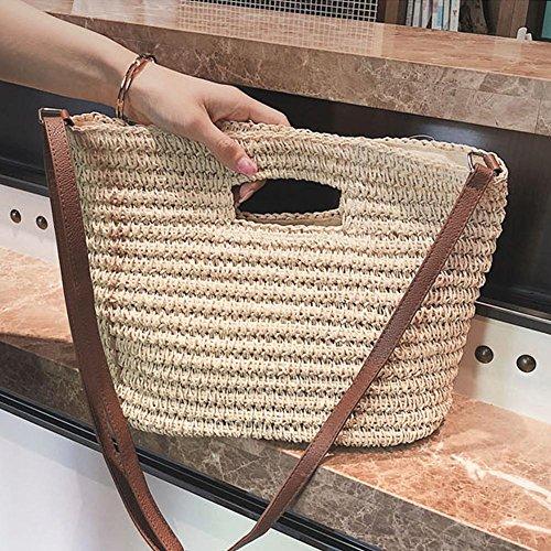 Arvin87Lyly Bolso de Playa Tejida Bolso de Ganchillo Bolso Crossbody Bolsa de Paja Con un Hombro Bolsa Simple Salvaje: Amazon.es: Bebé