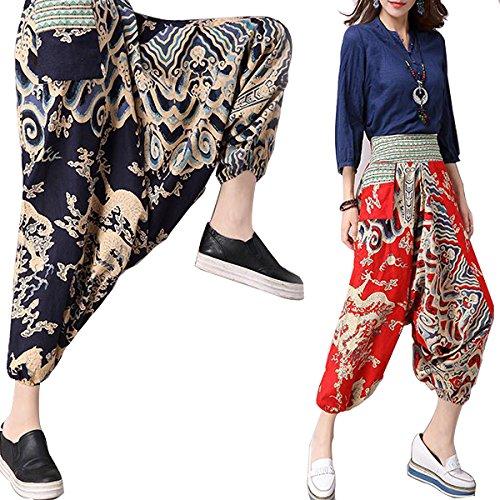 La M Yoga Oscuro Estilo Las Azul Entrepierna Nepal Sueltos Elásticos Pantalones De Pantalón Style Mujeres Bohemio Bluelover n6RYx