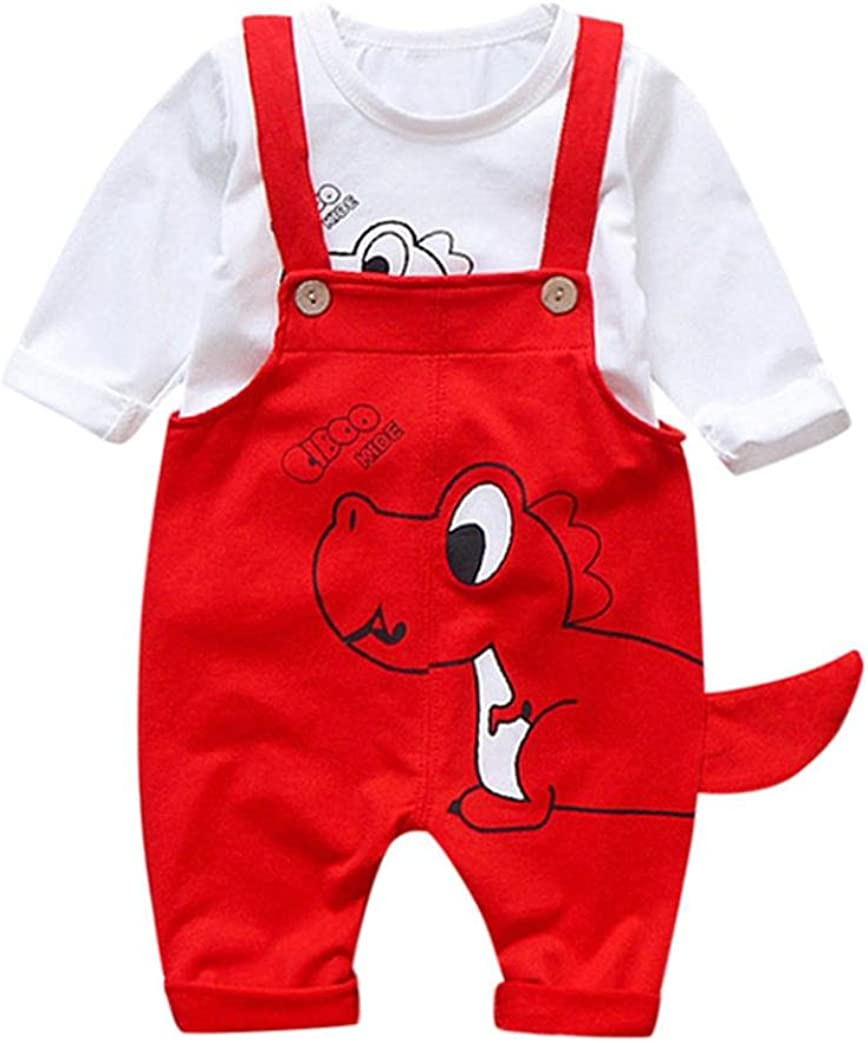 Vinjeely 2Pcs Baby Boys Girls Outfits White Dinosaur Tops+Suspenders Pants Clothes