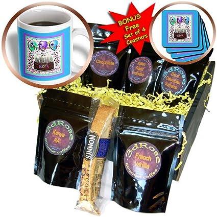 3dRose Happy Birthday 80Th Chocolate Cake Coffee Gift Basket Multi
