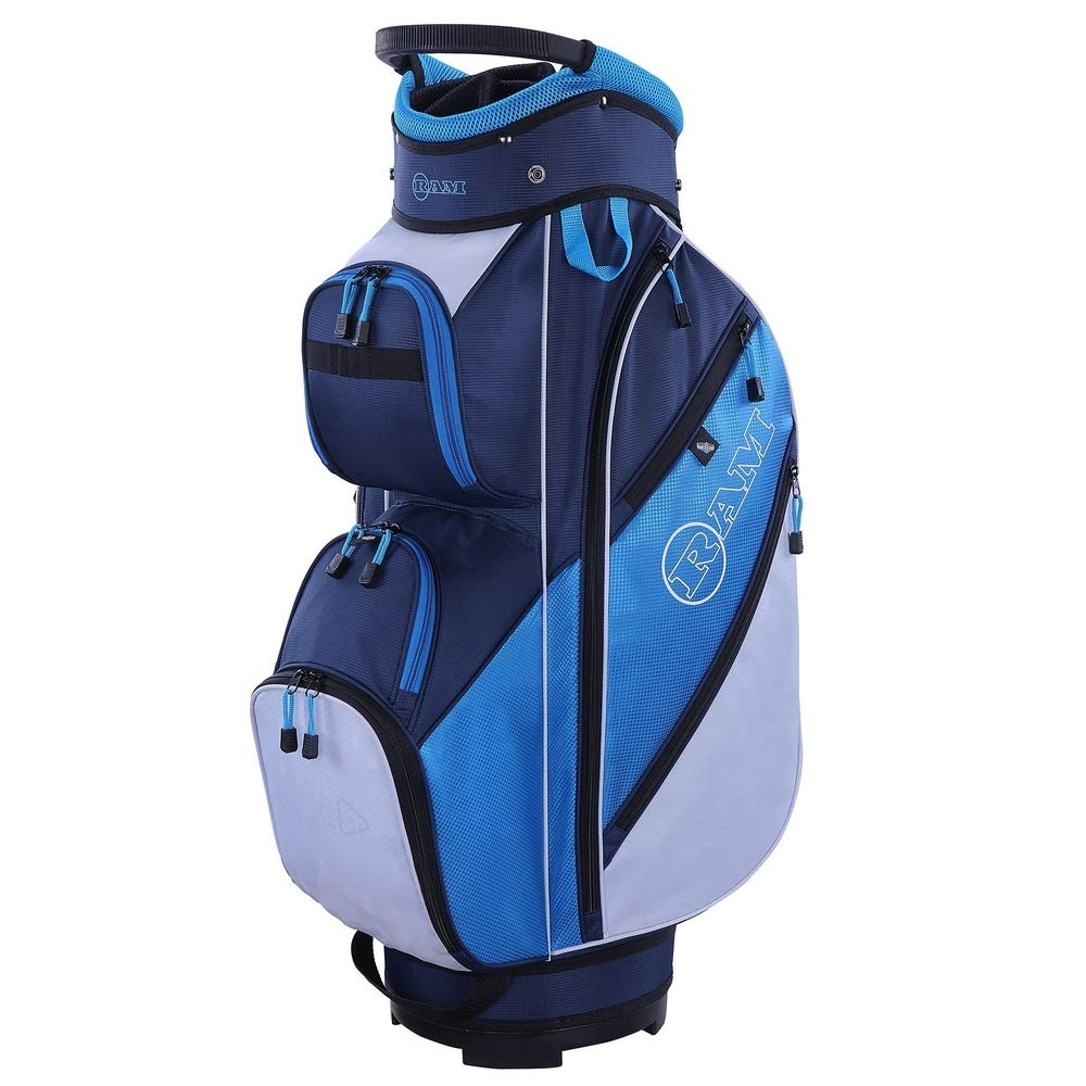 RAM Golf Lightweight Ladies Cart Bag with 14 Way Full Length Dividers Blue/White