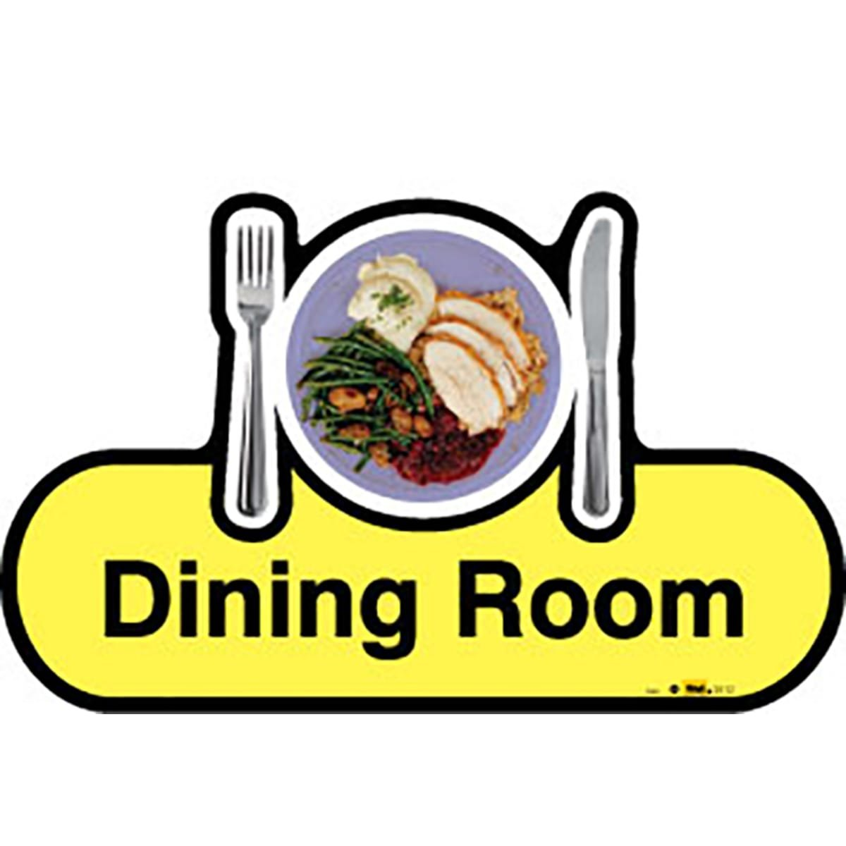 Dementia Friendly Dining Room - Yellow Sign -480mm Wide with Screw Fix by Dementia Friendly