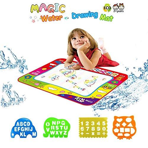 KELYNN Aqua Doodle Mat, Aqua Magic Water Drawing Mat Book Board Painting Doodle with 2 Magic Water Pens for Baby Kids Toddler Educational Toy Gift 31.5