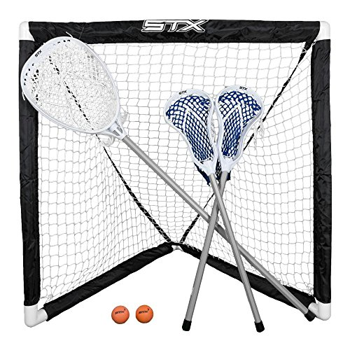 STX FiddleSTX Three Player Game Set with Two Field Player Sticks One Goalie Stick Mini Goal and Balls ()