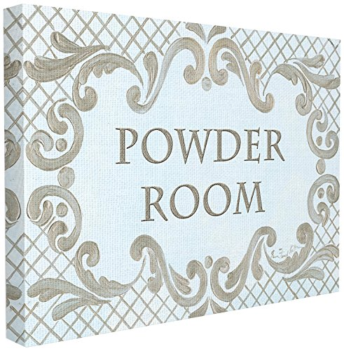 The Stupell Home Decor Collection Powder Room Aqua and Gold Lattice Bathroom Wall Plaque 24 x 30 Gallery Wrapped Canvas