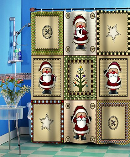Fabric Christmas Shower Curtain - Carnation Homes Americana Country Santa Christmas Fabric Shower Curtain
