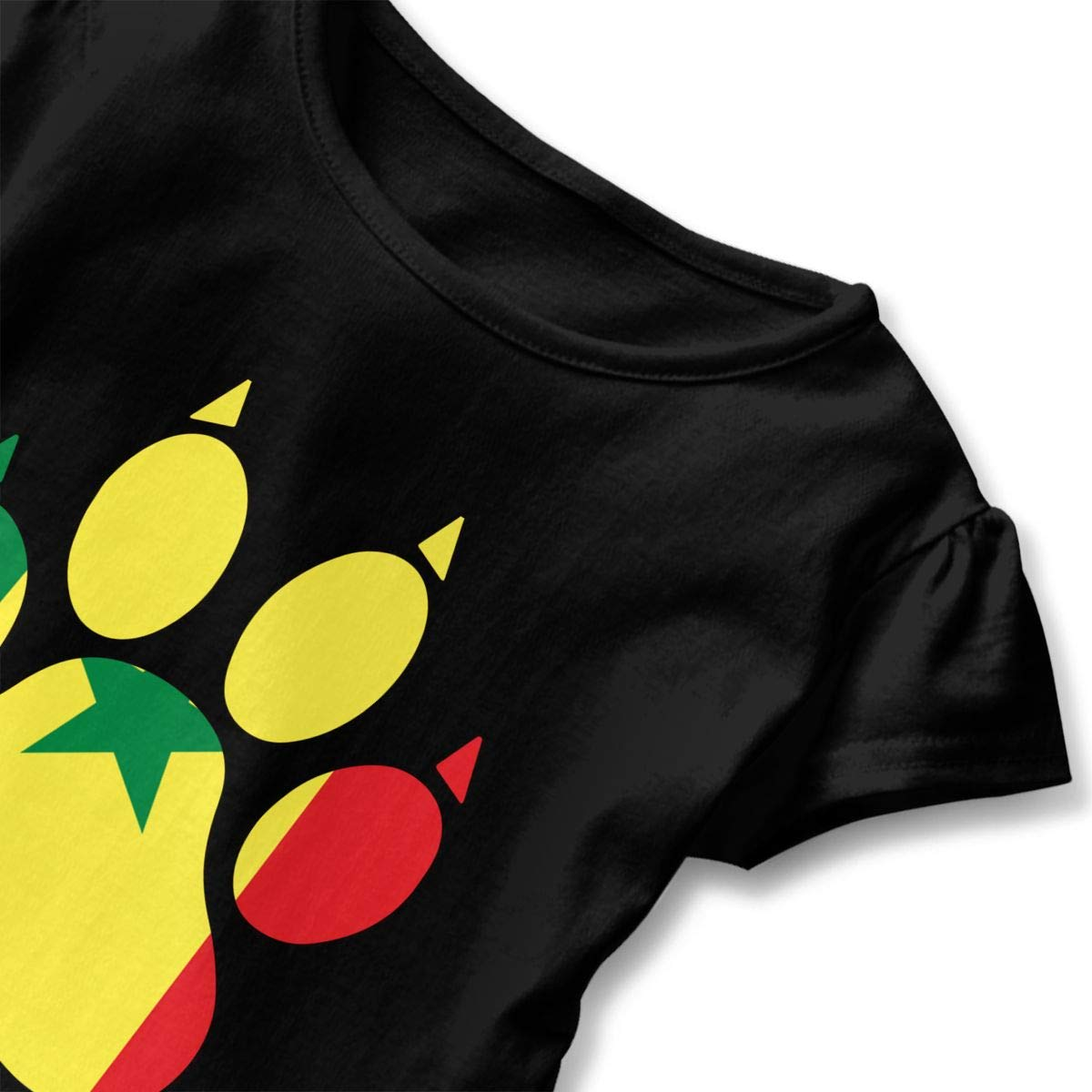 2-6T Short-Sleeve Senegal Flag Dog Paw T-Shirts for Girls Ruffled Sweatshirt with Falbala