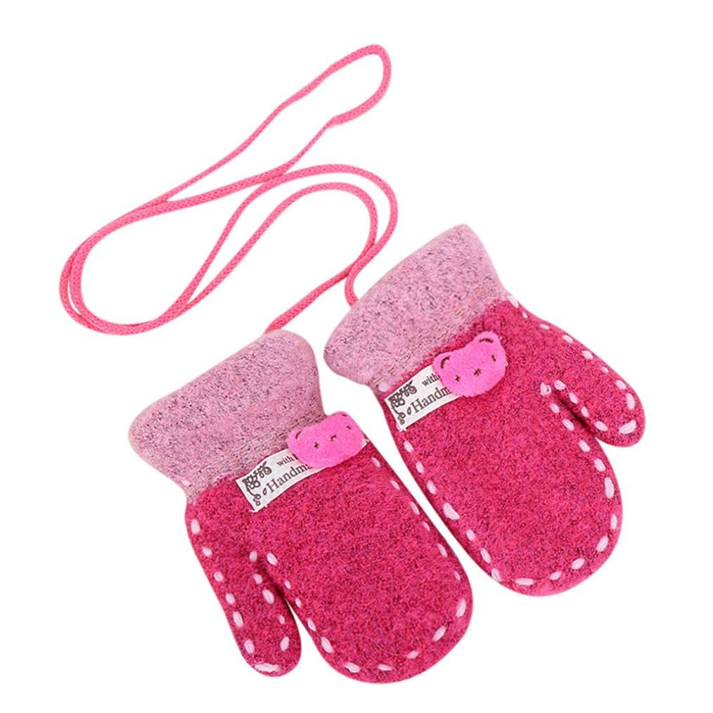 Lavany Kids Boy Girl Gloves On a string Baby Cute Winter Mitten For 1-6 Year