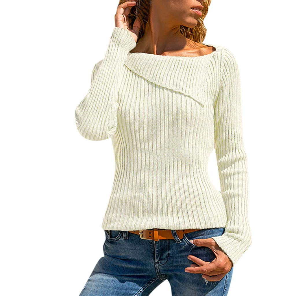FEDULK Womens Solid Sweater Long Sleeve Turn Down Collar Knitted Pullover Tops Blouse Plus Size Sweatshirt(White, US Size L = Tag XL)