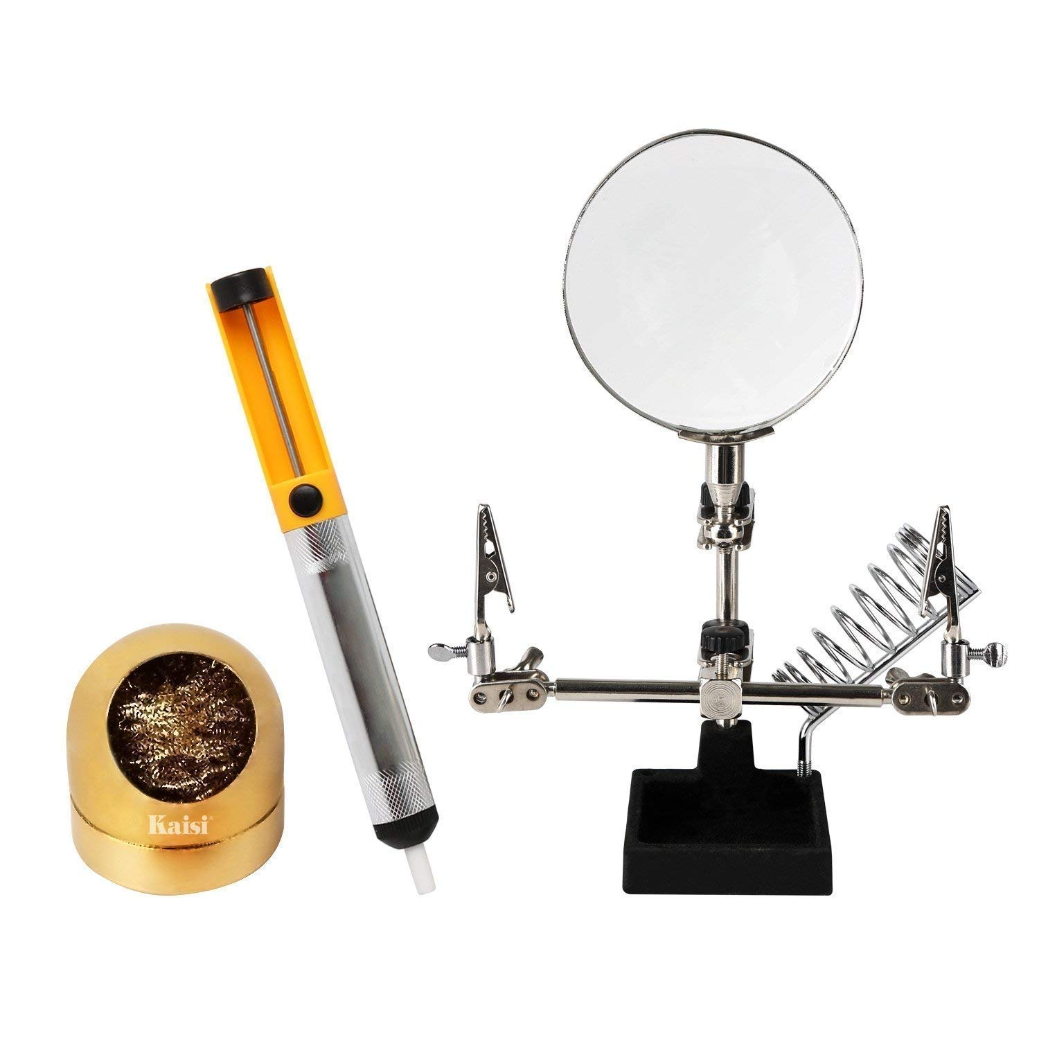 Soldering Tools 3 in 1 Helping Hand Station with Magnifying Glass Desoldering Pump and Soldering Tip Cleaner Soft Brass Ball Wire, Soldering Tools for Electronics, Iron, Craft Projects and Hobby etc