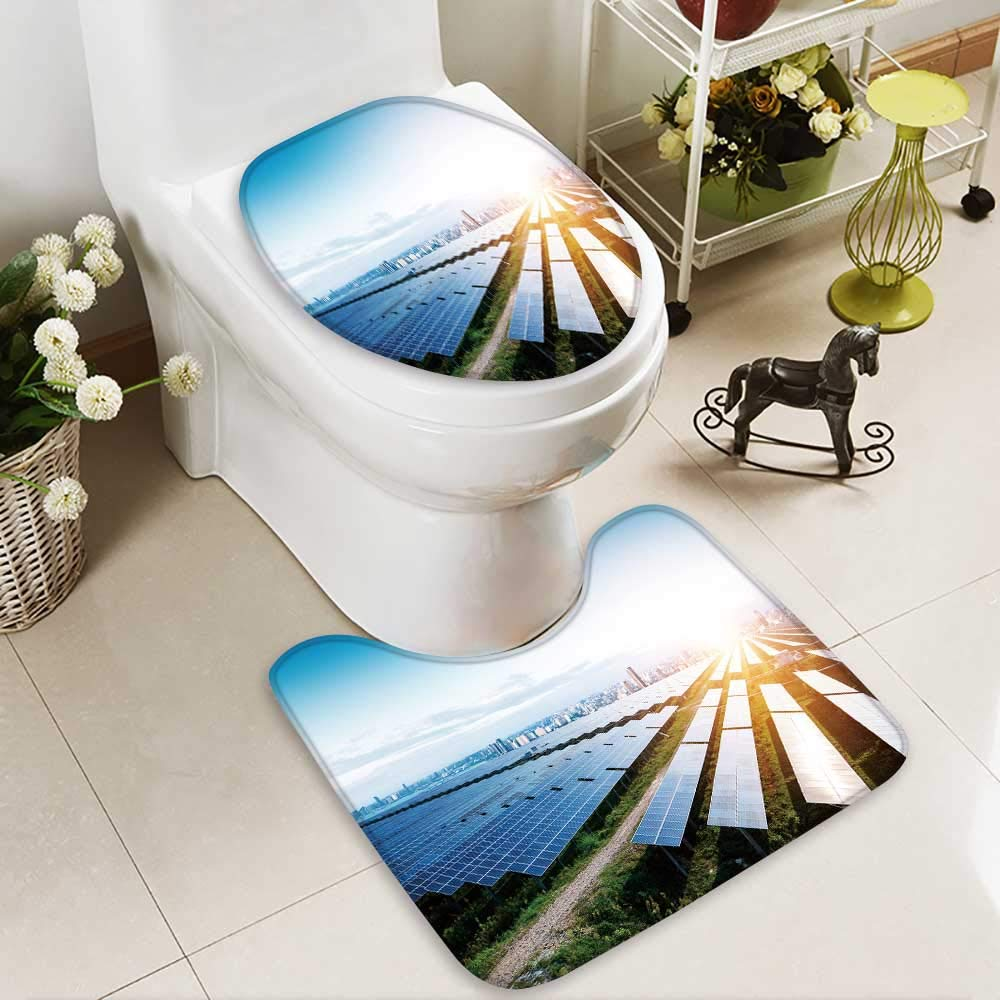 Analisahome Toilet carpet floor mat solar panels with the sunny sky blue solar panels background of 2 Piece Shower Mat set