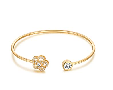 11ba89f851a Buyless Fashion Girls Flower Bangle Bracelet Jewelry with White  StonesBLTFLGLD