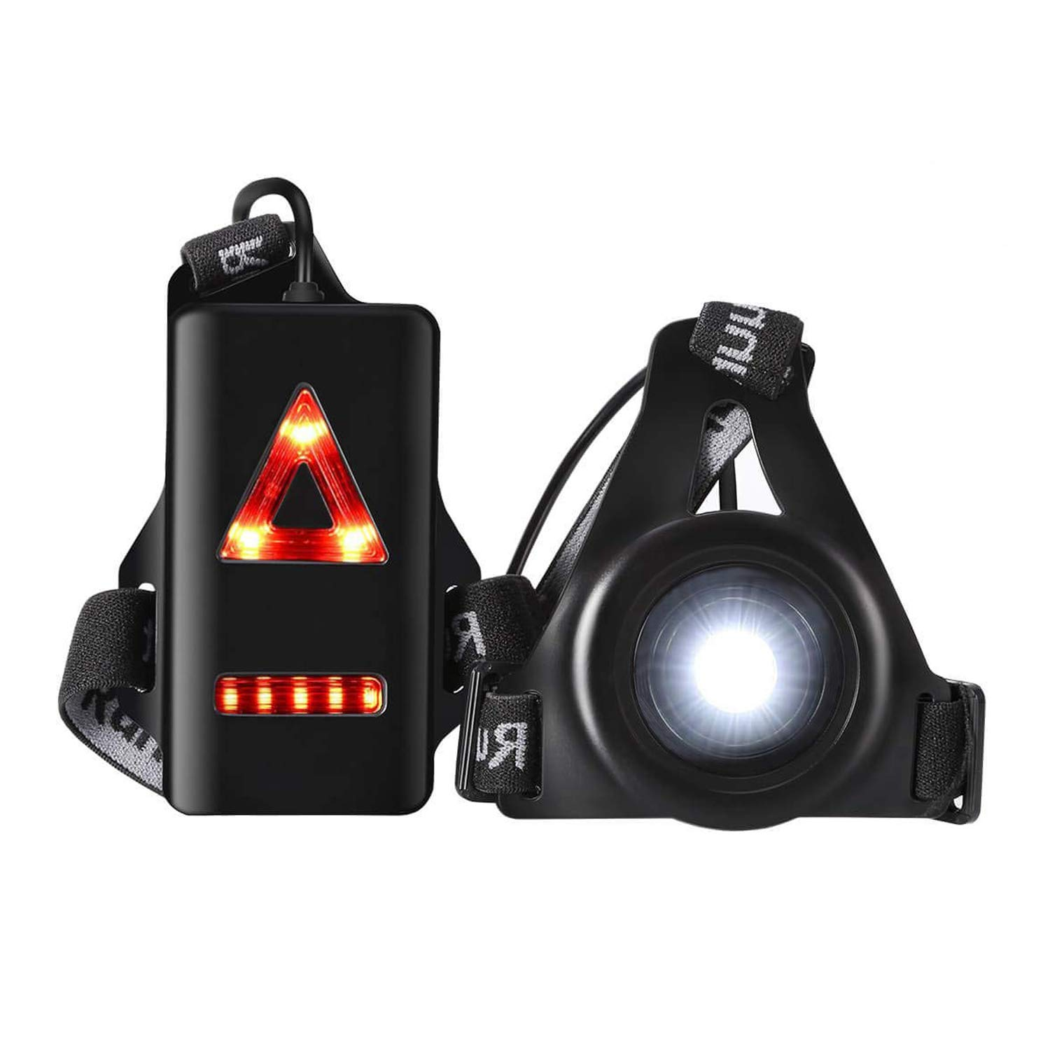 Black Jhua Outdoor Night Running Lights Jogging Walking Adventure and More Outdoor Sports Hiking LED Chest Light Back Warning Light with Rechargeable Battery for Camping Running