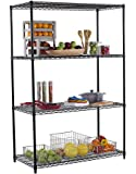 TRINITY 4-Tier NSF Shelving Rack, 48 by 24 by 72-Inch, Black