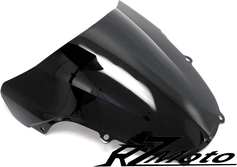 RZMoto ABS Plastic Injection Black Smoke Double Bubble Windscreen Windshield With 5mm Black Wellnut Bolt Kit for 1997 1998 1999 2000 Suzuki GSXR600 ; 1997 1998 1999 Suzuki GSXR750