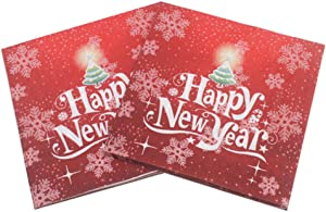 Happy New Year Paper Napkins,Disposable Happy New Year Napkins for New Year Dinner - New Year Party Supplies Decorations and Baby Showers