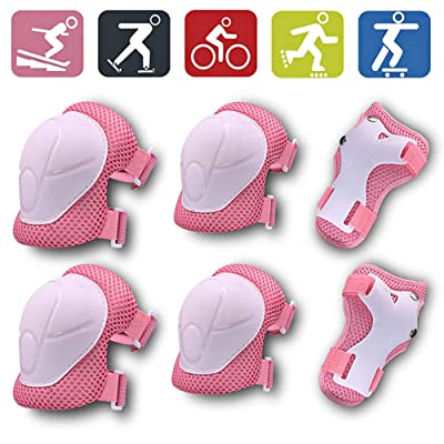 Biowlucn Kids/Youth 6 in 1 Set Knee Pad Elbow Pads Guards Protective Gear Set with Wrist Guard and Adjustable Strap for Skating Cycling Scooter Riding Sports : Sports & Outdoors