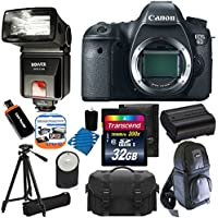 Canon EOS 6D 20.2 MP CMOS Digital SLR Camera with 3.0-Inch LCD With Extra Battery + Bower SFD728C TTL Zoom Shoe Mount Flash + Tripod + DSLR Backpack + with 32GB Complete Deluxe Accessory Bundle And Much More! Benefits Review Image