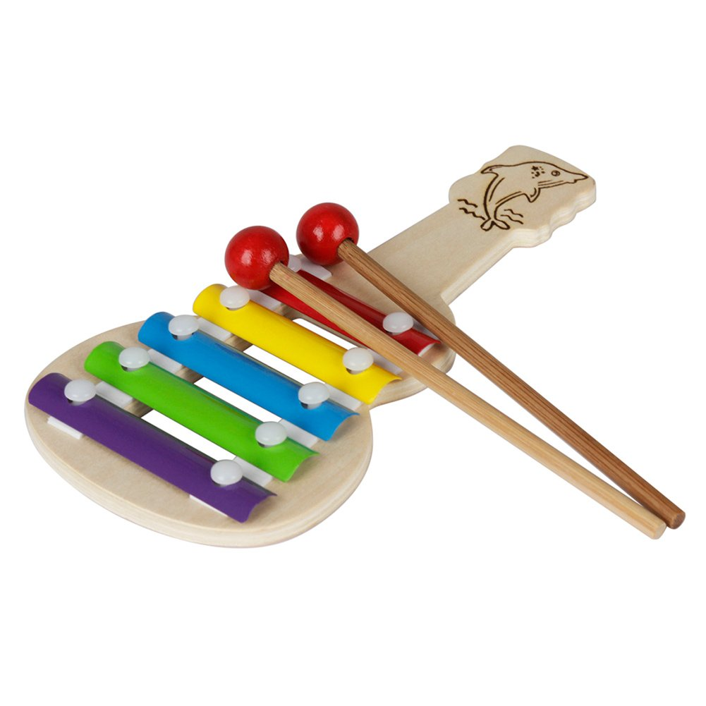 Wooden Xylophone for Kids: Perfectly Sized Musical Knock Toy Gift Early Educational Toys Kids Child Musical Instrument - With Clear Sounding Metal Keys, Two Child-Safe Wooden Mallets for Music-Makin
