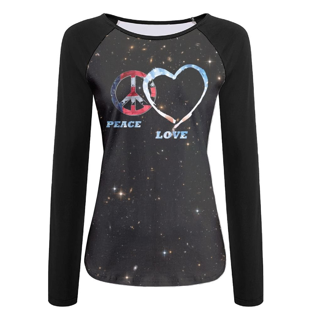 American Flag Peace Love Womens Comfort Crew Neck Long Sleeve Raglan T-Shirt Baseball Tshirt