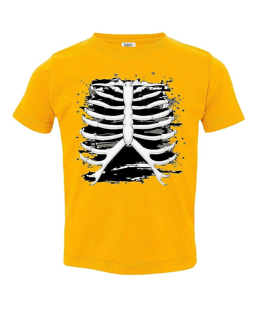 Societee Skeleton Rib Cage Halloween Costume Little Kids Girls Boys Toddler T-Shirt