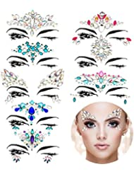 TOODOO 8 Sets Face Gems Rhinestone Colorful Sticker Tattoo Jewelry Stick on Face Festival Jewels for Forehead Body Decorations (Style 1)