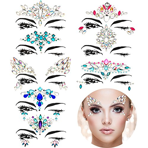 TOODOO 8 Sets Face Gems Rhinestone Colorful Sticker Tattoo Jewelry Stick on Face Festival Jewels for Forehead Body Decorations (Style 1) -