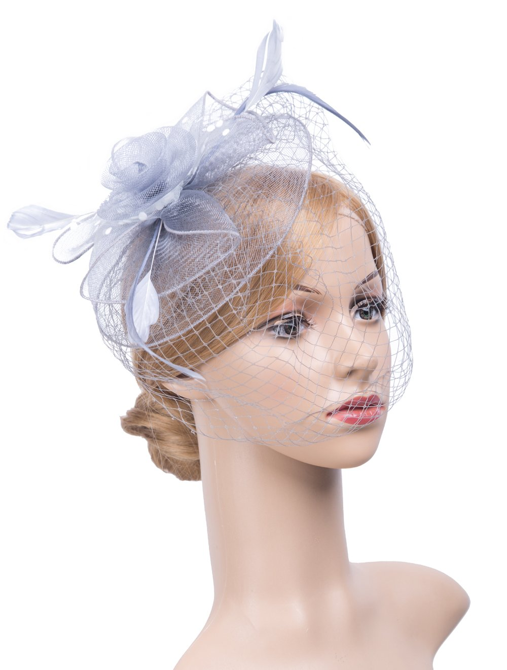 K.CLASSIC Fascinators Hats For Womens 50s Headwear With Veil Flower Cocktail Wedding Tea Party Hat, Grey, One Size