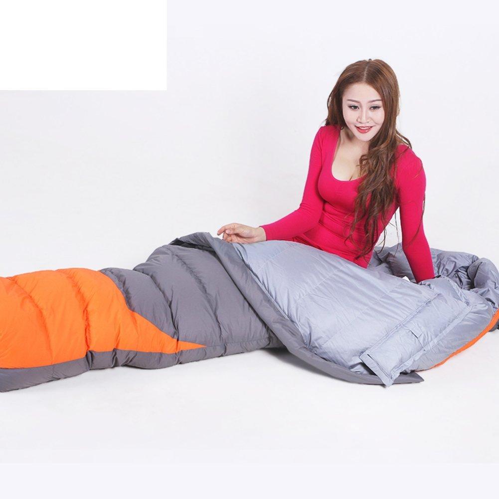 Erwachsene im Freien Schlafsack/Mama-Stil Schlafsack Ultraleicht/Camping dicke warme weiße Ente Daunenschlafsack