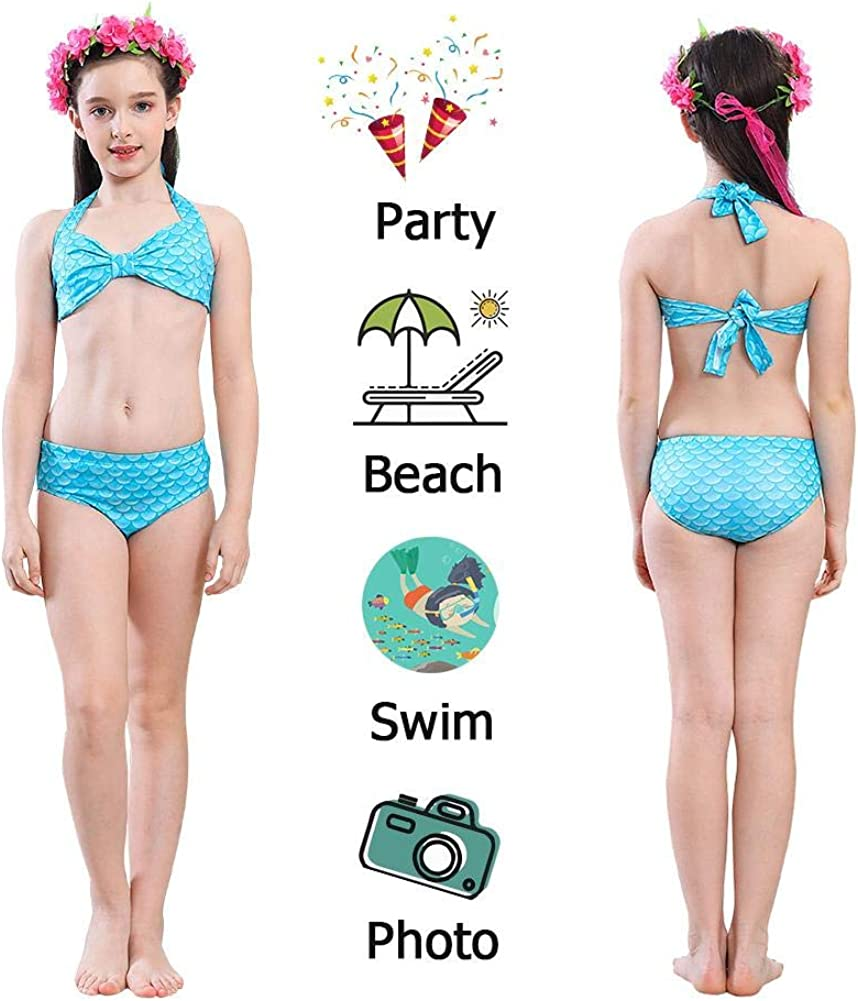 Occitop 5pcs Cute Summer Fish Tail Bikini Set Girls Swimsuit Children Swimming Suit