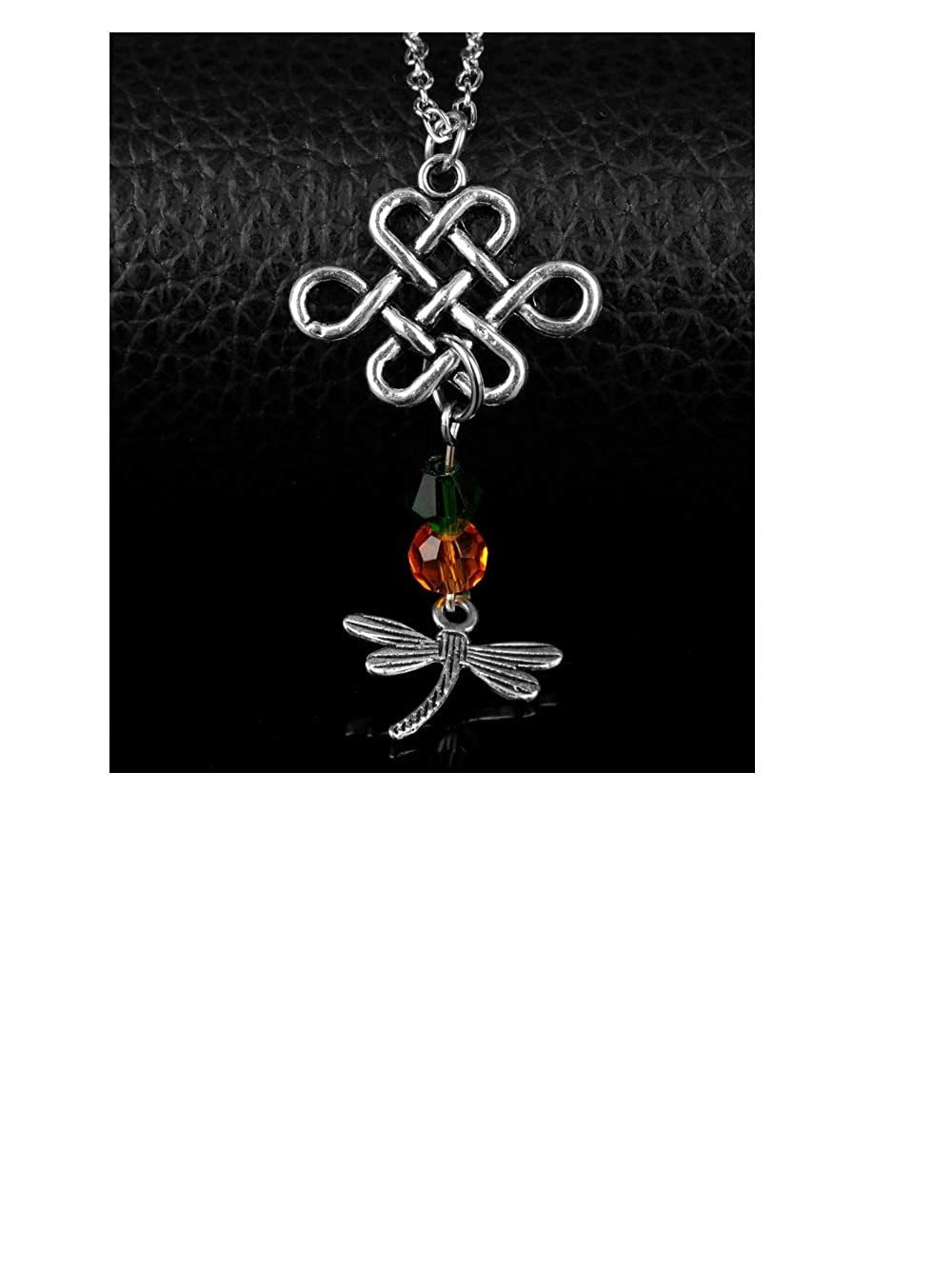Ivy /& Clover Outlander Inspired Pendant Dragonfly in Amber /& Celtic Knot Style 2