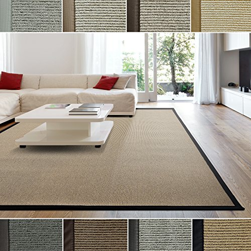 ICustomRug Zara Contemporary Synthetic Sisal Rug Softer Than Natural Stain Resistant Easy To Clean Beautiful Border In Black 8 Feet 10