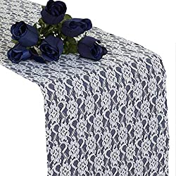 mds Pack of 12 Wedding 12 x 108 inch Lace Table Runner for Wedding Banquet Decor Table Lace Runner- White