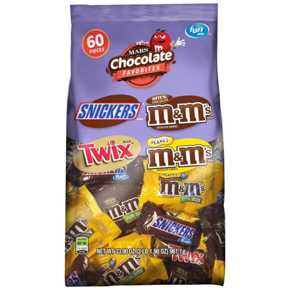 SNICKERS, M&M'S & TWIX Fun Size Chocolate Candy Variety Mix, 33.9-Ounce 60 Piece Bag : Grocery & Gourmet Food
