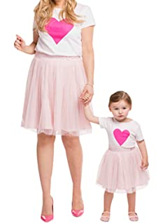 df4147fe6d Family Matching Mom Baby Girls White Tshirt Top and Pink Tutu Skirt  Clothing Sets