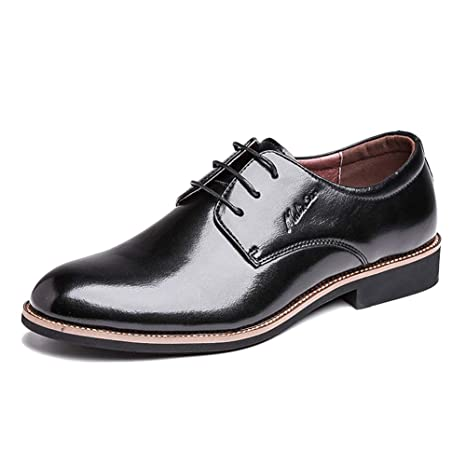 LXLA- Zapatos De Cuero A Cuadros De Vestir para Hombres, Mocasines De Encaje para