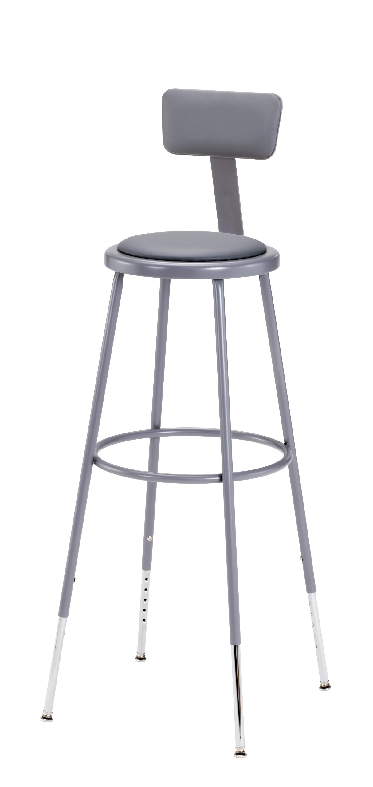 National Public Seating 6430HB Steel Stool with Vinyl Upholstered Seat Adjustable and Backrest, 31''-39'', Grey