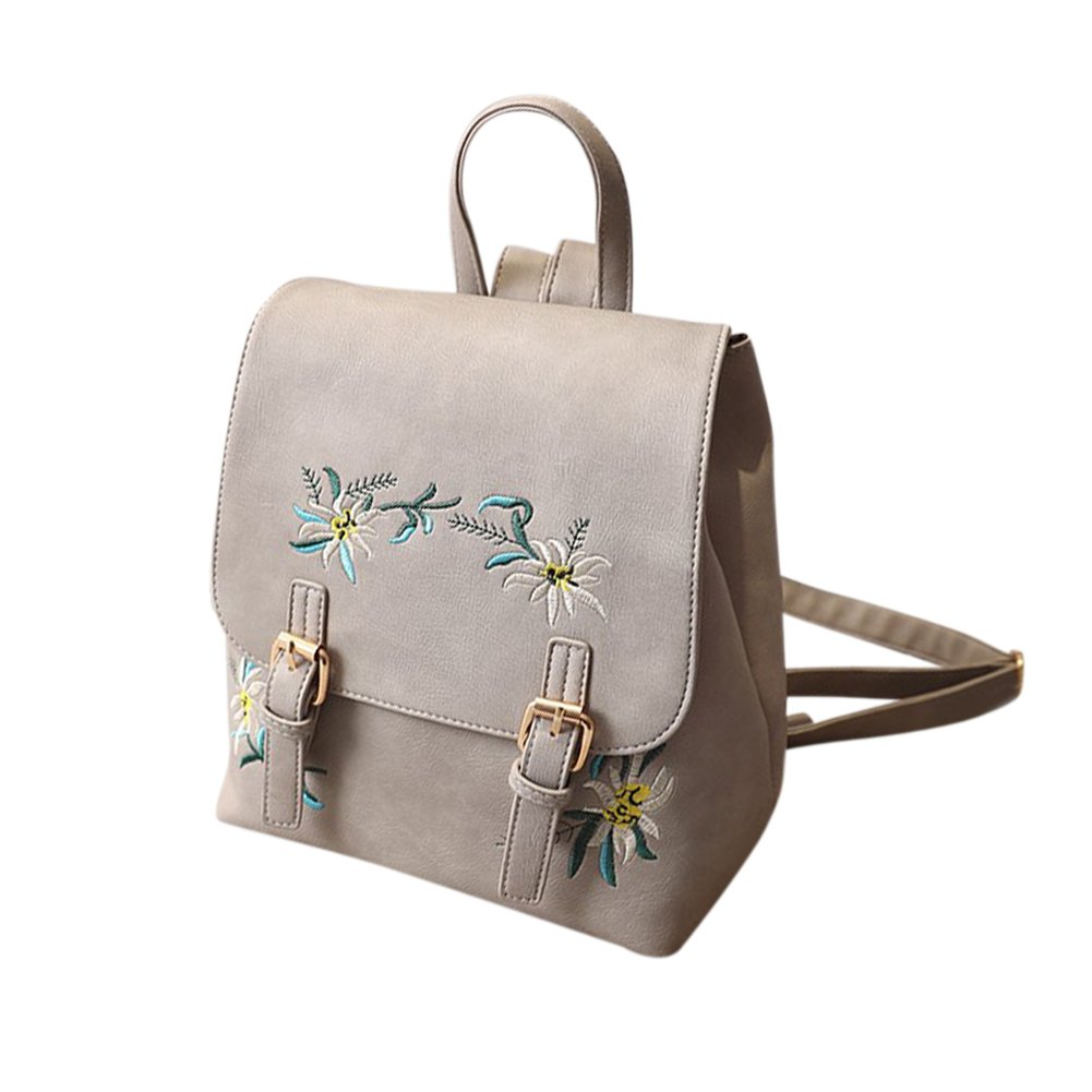 Girls Women's Flower Pattern Embroidery PU Leather Backpack Double Shoulder Backpack
