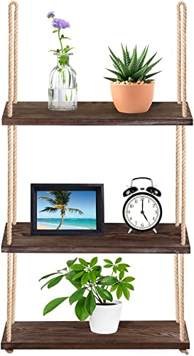 Supla 40.4 Tall Wood Hanging Shelf Window Shelf Wall Shelf Plant Shelf Rope Shelf Storage Shelf Wooden 3 Tier Hanging Shelves Organizer Swing Shelf Floating Shelves for Kitchen Bathroom