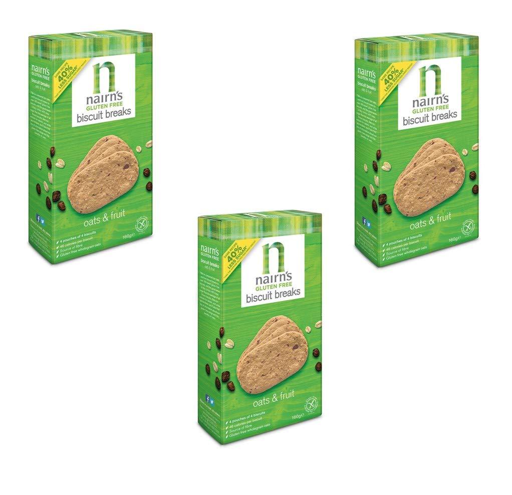 Nairn's Oats & Fruit Oat Grahams Biscuit Breaks (5.64Oz, 160g) x3 Gluten Free by Nairn's