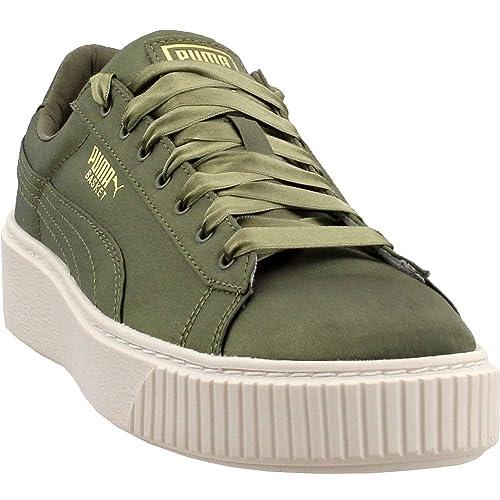 new product 1d3cc 0b57c PUMA Womens Basket Platform Satin Casual Sneakers,