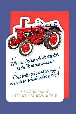 Landwirt Geburtstag Karte Grusskarte Roter Traktor Bauer 16x11cm
