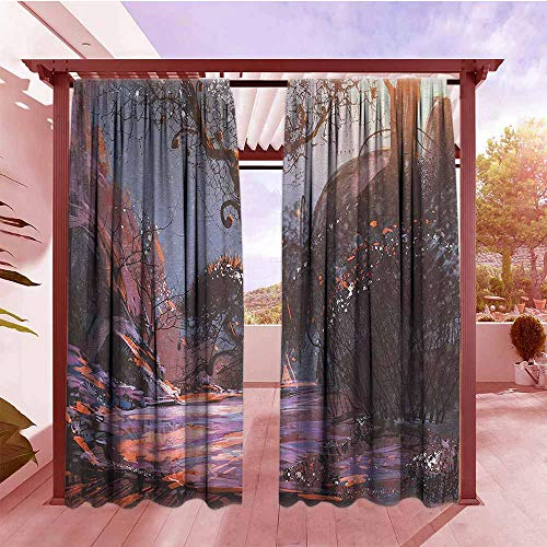 (Curtains Rod Pocket Two Panels Winter Heaven Like Landscape Mystery Forest Rising Sun Oil Paint Style Outdoor Privacy Porch Curtains W84x84L Light Pink Orange Dark Brown)