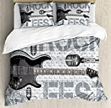 Rock Music Duvet Cover Set Queen Size by Ambesonne, Grunge Color Splashed Brick Wall Background Electronic Guitar Mics Design, Decorative 3 Piece Bedding Set with 2 Pillow Shams, Blue Grey Black